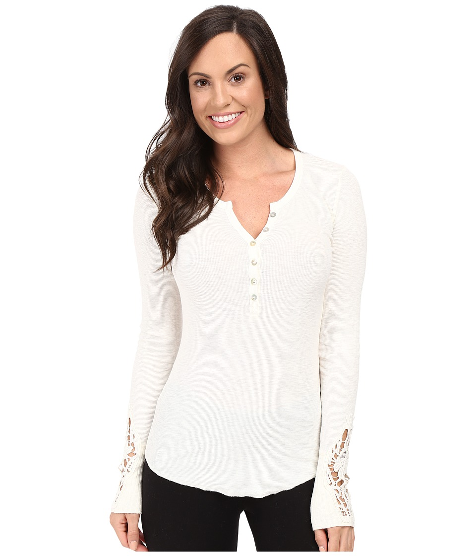 P.J. Salvage - Crochet Sleeve Rib Henley (Natural) Women's Pajama