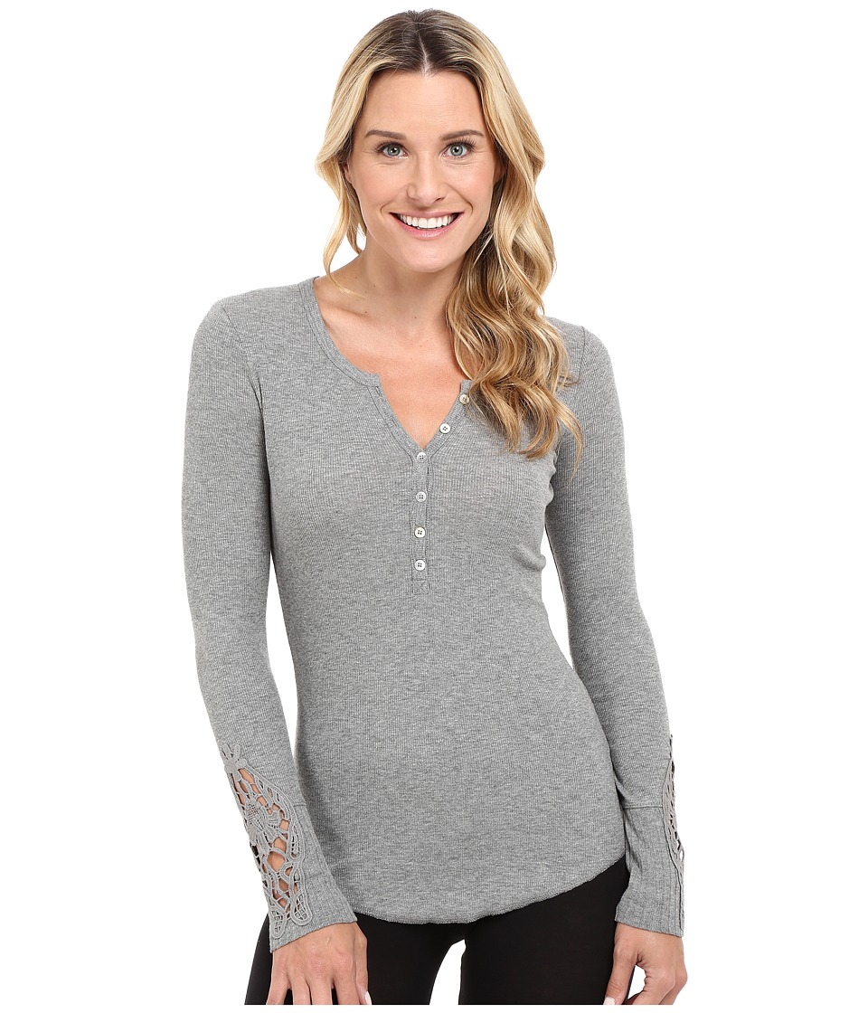 P.J. Salvage - Crochet Sleeve Rib Henley (Heather Grey) Women's Pajama