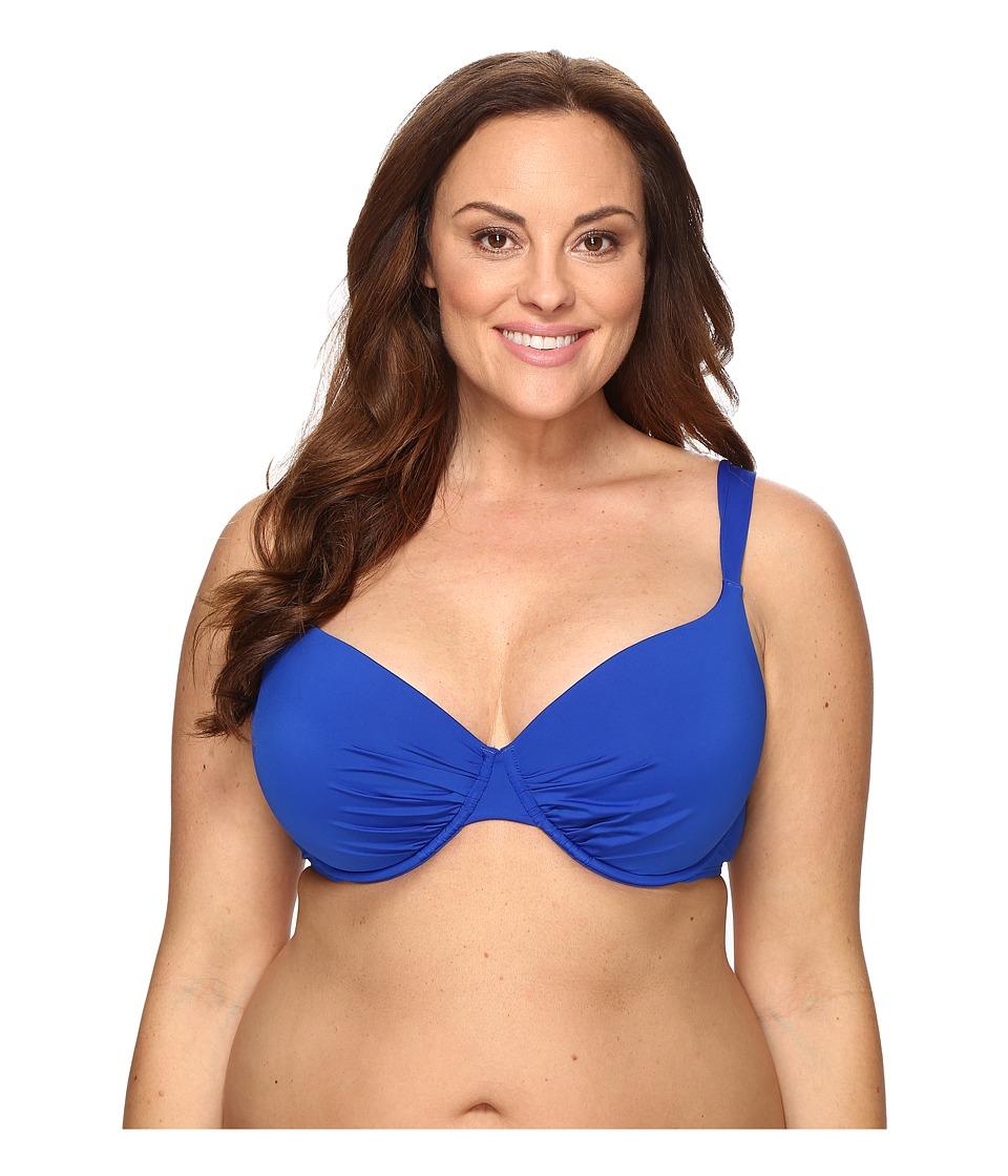 Jantzen - Signature Solids D and DD Over the Shoulder Underwire Bra Top (Seaside Blue) Women's Swimwear