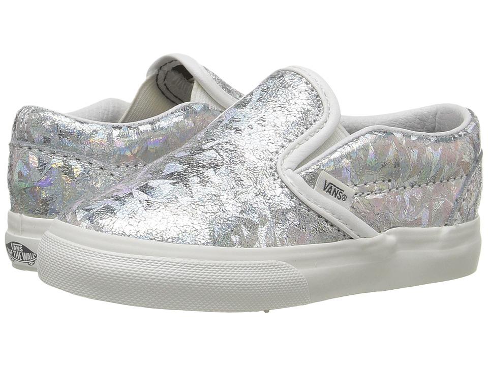 Vans Kids - Classic Slip-On (Toddler) ((Hologram) Silver/Blanc De Blanc) Girls Shoes