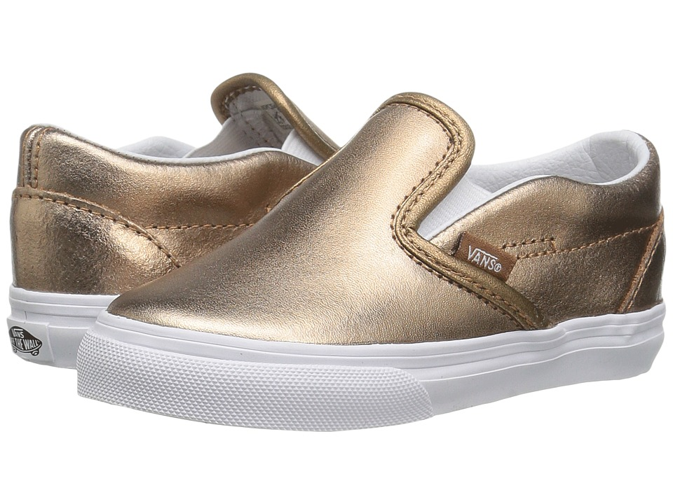 Vans Kids - Classic Slip-On (Toddler) ((Metallic) Rose Gold/True White) Girls Shoes