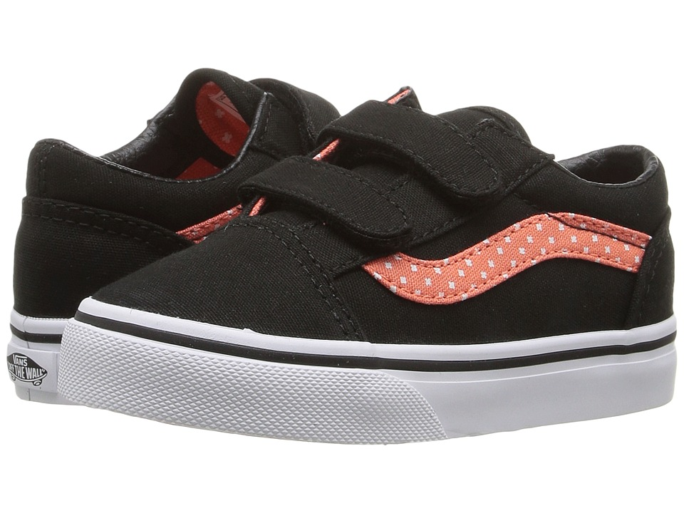 Vans Kids - Old Skool V (Toddler) ((Plus) Black /Living Coral) Girls Shoes