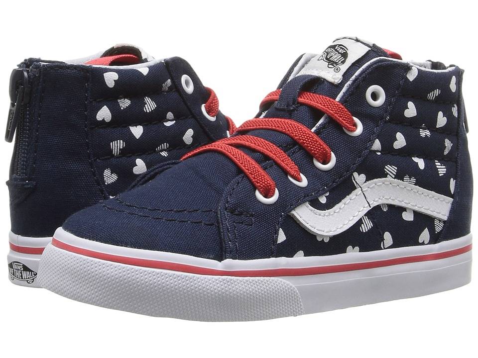 Vans Kids - Sk8-Hi Zip (Toddler) ((Hearts) Dress Blue/True White) Girls Shoes