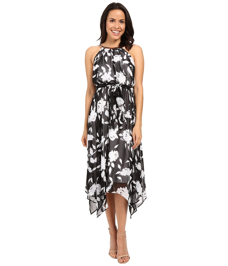 Sangria - Floral Print Chiffon Midi Dress w/ Hardware (Black/Ivory) Women's Dress