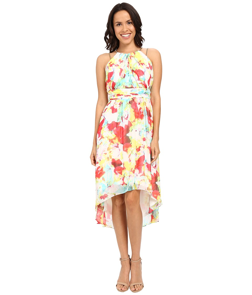 Sangria - Floral Print Chain Strap High-Low Dress w/ Ruched Waist (Multi) Women's Dress