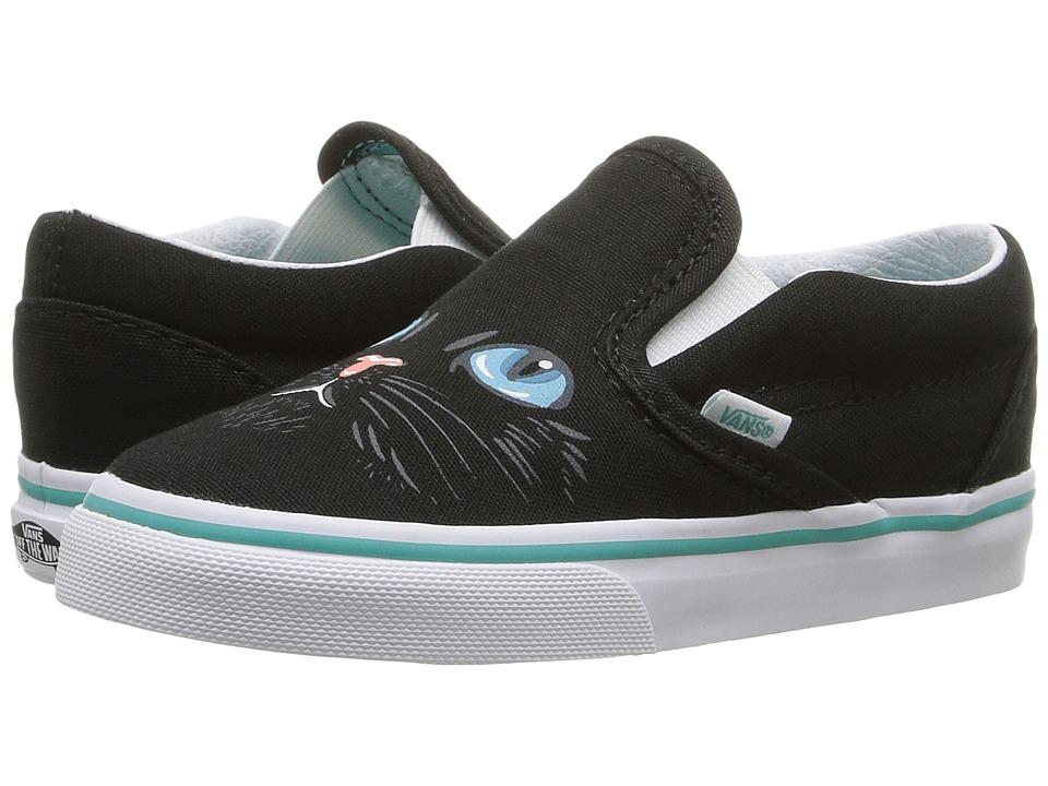 Vans Kids - Classic Slip-On (Toddler) ((Cat) Black/True White) Girls Shoes