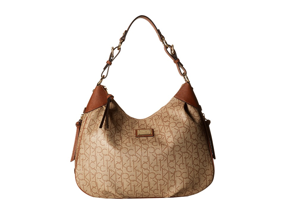 Calvin Klein - Hudson Monogram Hobo (Textured Khaki/Brown/Luggage Saffiano) Hobo Handbags
