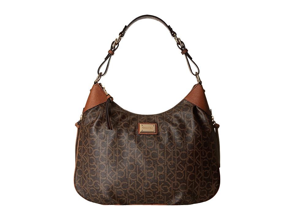 Calvin Klein - Hudson Monogram Hobo (Brown/Khaki/Luggage Saffiano) Hobo Handbags