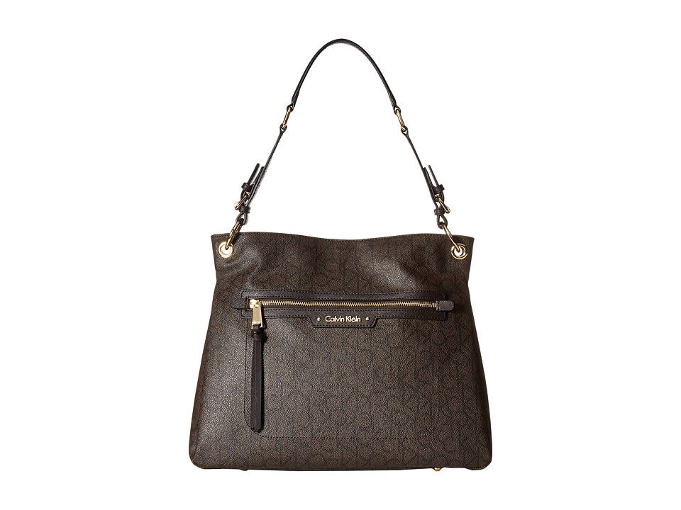 Calvin Klein - Monogram Top Zip Hobo (Textured Brown/Brown/Dark Brown Saffiano) Hobo Handbags