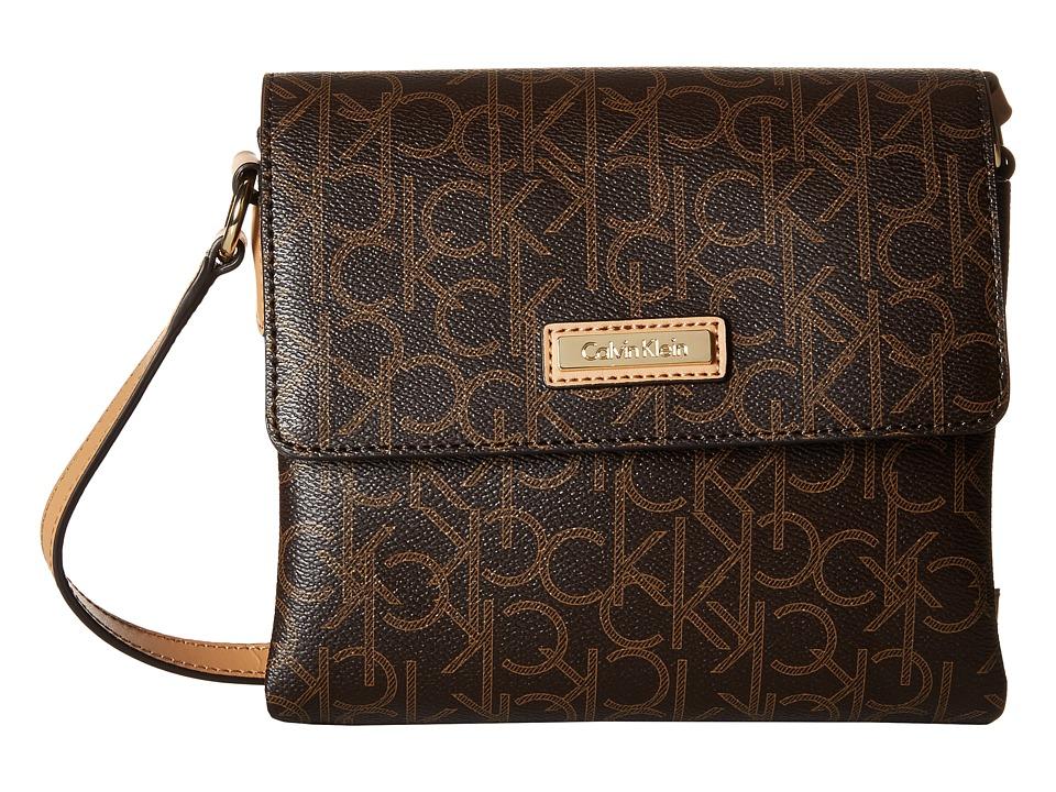 Calvin Klein - Hudson Monogram Crossbody (Brown/Khaki/Camel) Cross Body Handbags