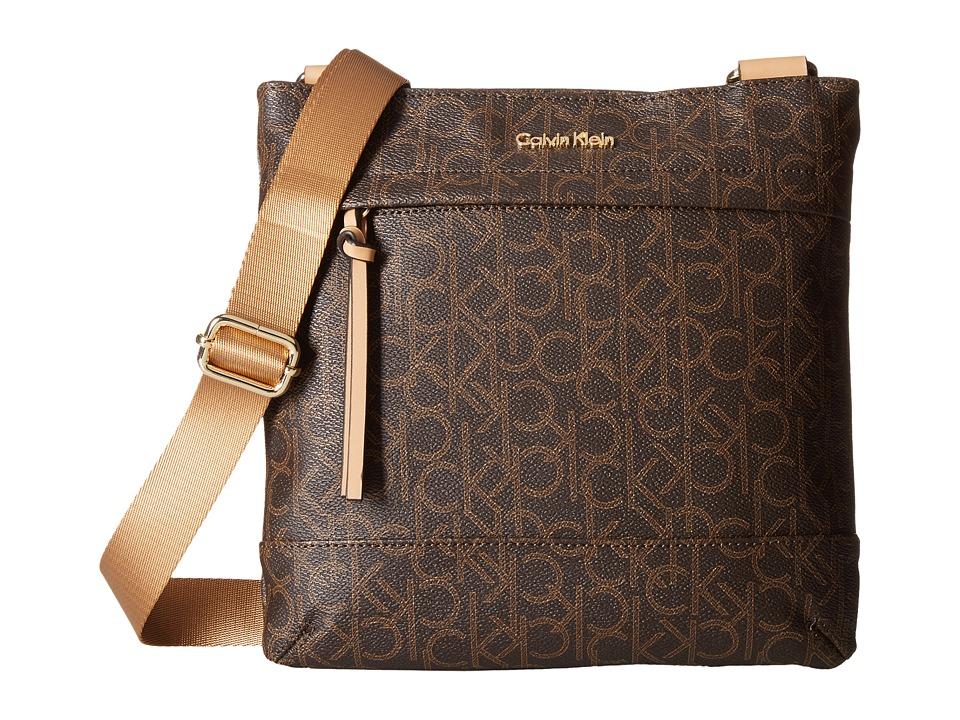 Calvin Klein - Hudson Monogram Messenger (Brown/Khaki/Camel) Messenger Bags