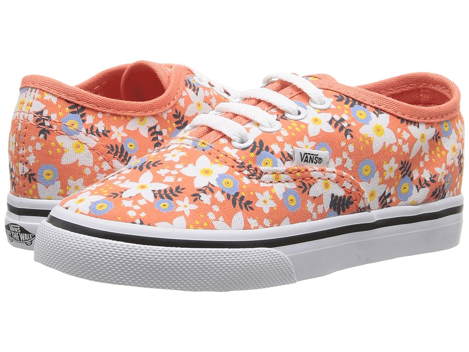 Vans Kids - Authentic (Toddler) ((Floral Pop) Living Coral) Girls Shoes