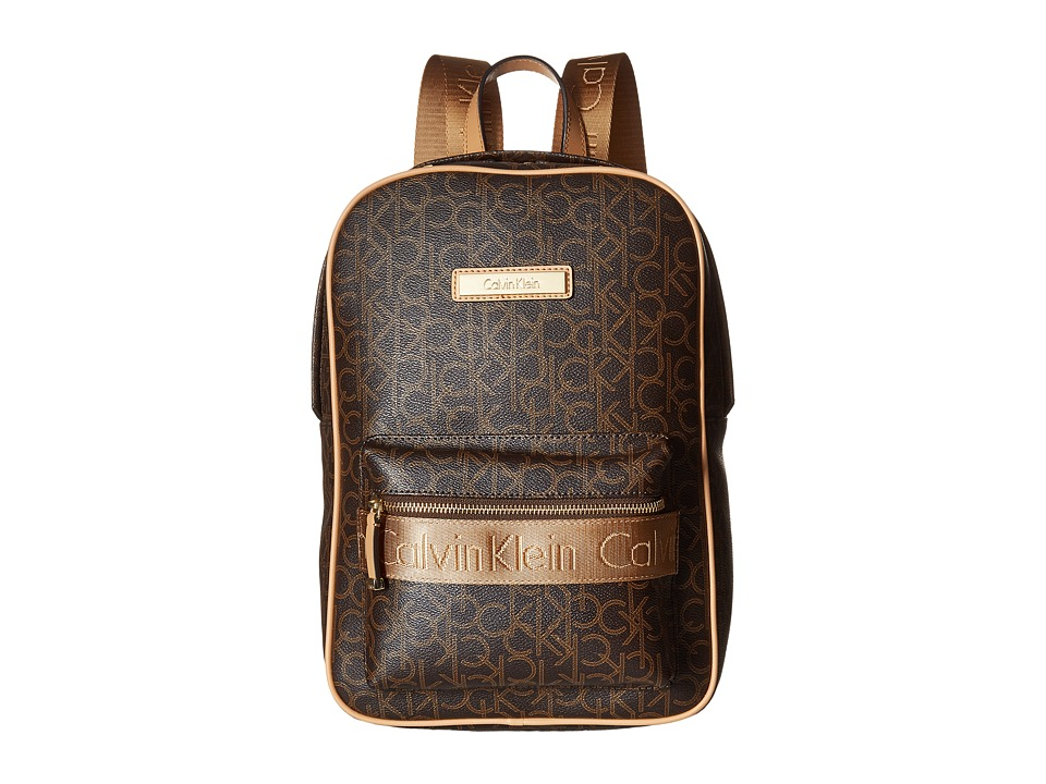 Calvin Klein - Small Monogram Backpack (Brown/Khaki/Camel) Backpack Bags