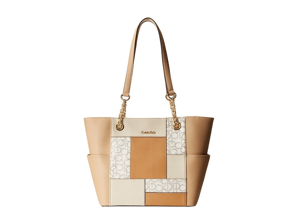 Calvin Klein - Key Item Saffiano Leather Tote (Almond/Khaki) Tote Handbags