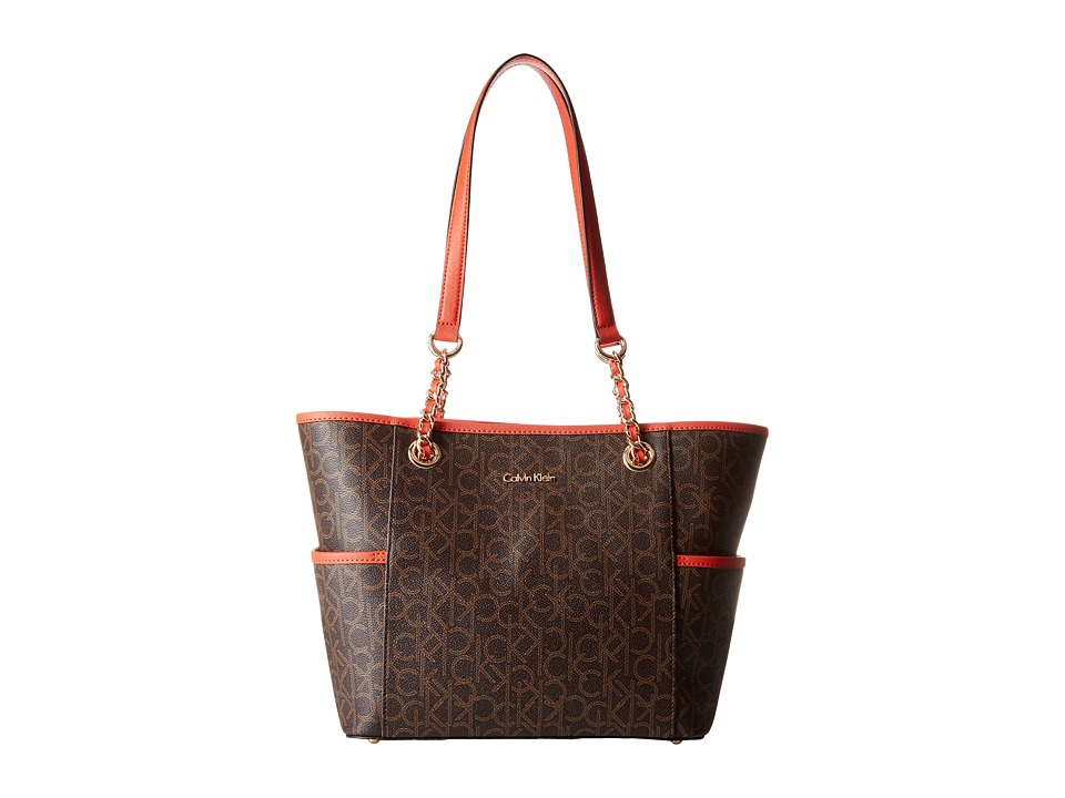 Calvin Klein - Key Item Monogram Tote (Brown/Khaki/Burnt Orange Saffiano) Tote Handbags