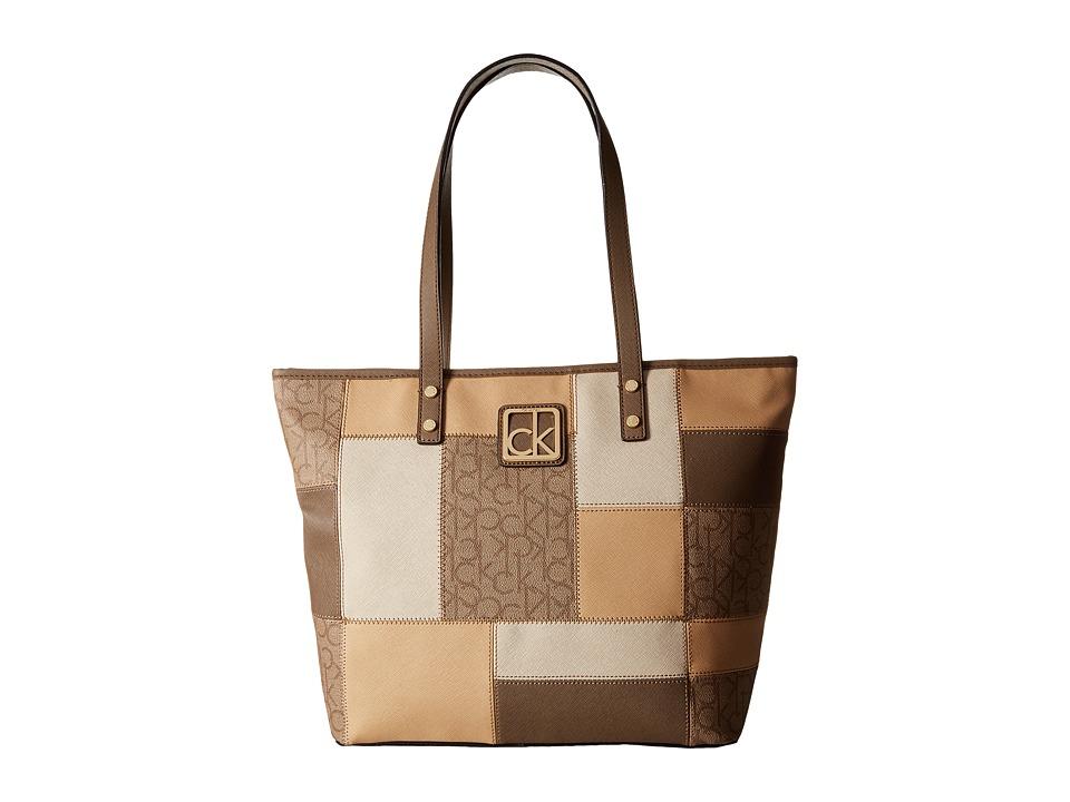 Calvin Klein - Key Item Monogram Tote (Textured Khaki/Brown Combo) Tote Handbags