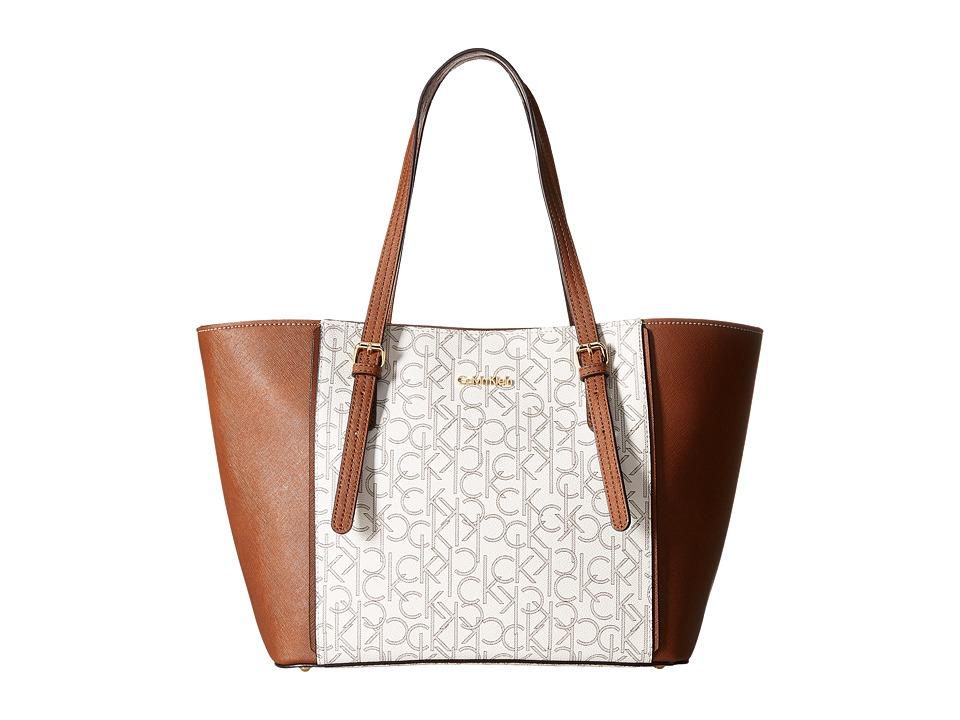 Calvin Klein - Key Items Saffiano Tote (Almond/Khaki Combo) Tote Handbags