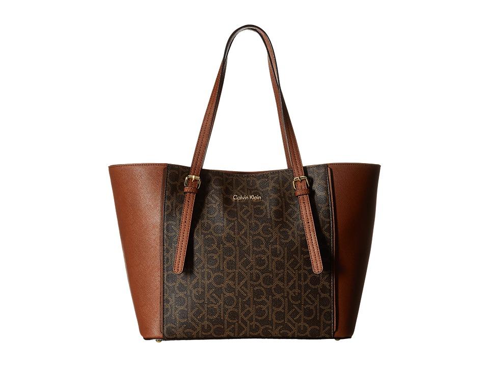 Calvin Klein - Key Items Saffiano Tote (Brown/Khaki Combo) Tote Handbags