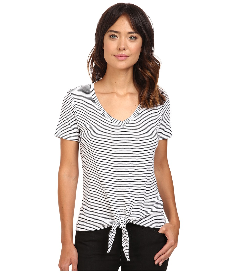 Splendid - Codette Mini Rib V-Neck Tee (White) Women's T Shirt