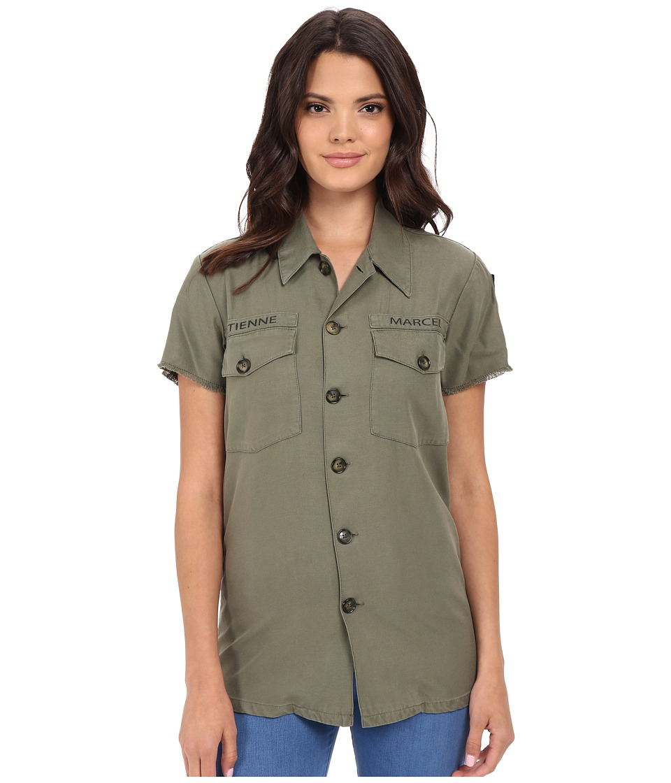 ETIENNE MARCEL - EM7318 Army Shirt (Military) Women's Short Sleeve Button Up