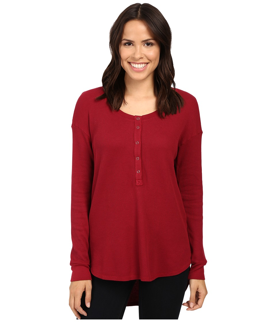 Splendid - Thermal Henley (Cranberry) Women's Clothing