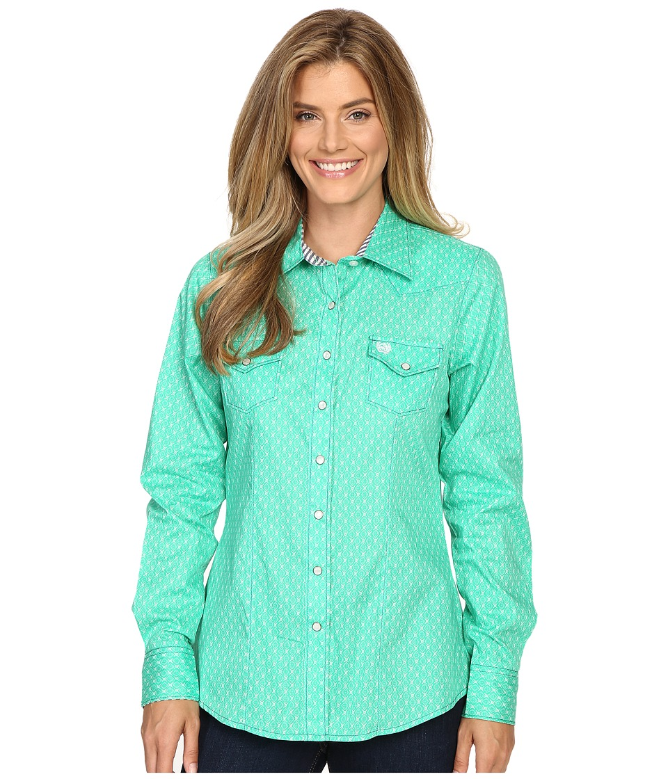 Cinch - Cotton Plain Weave Print (Green) Women's Clothing