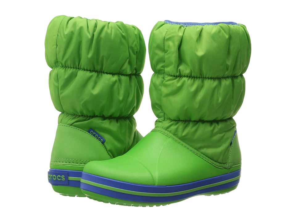 Crocs Kids - Winter Puff Boot (Toddler/Youth) (Lime/Sea Blue) Kids Shoes