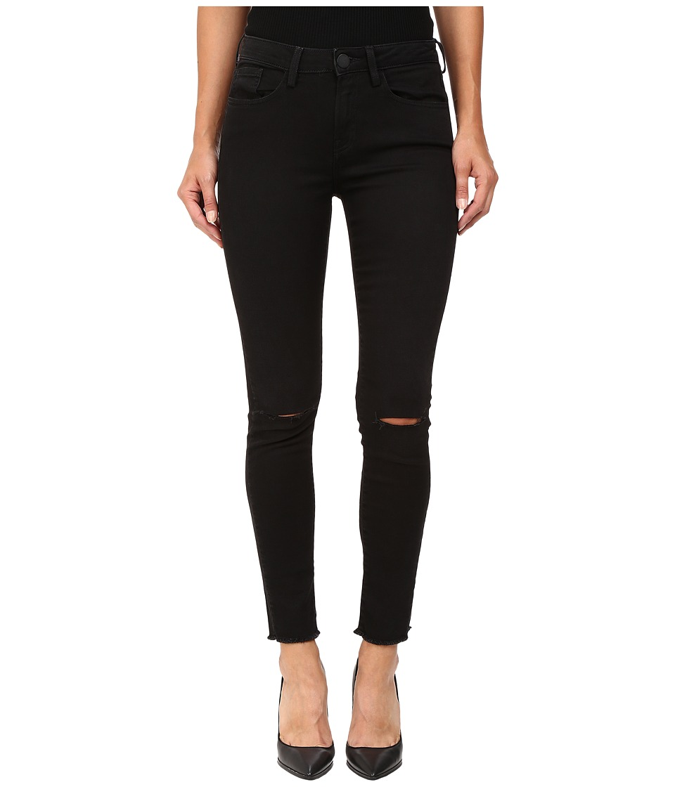 ETIENNE MARCEL - EM7360 Skinny Frayed Bottom Ripped Knee (Black) Women's Jeans
