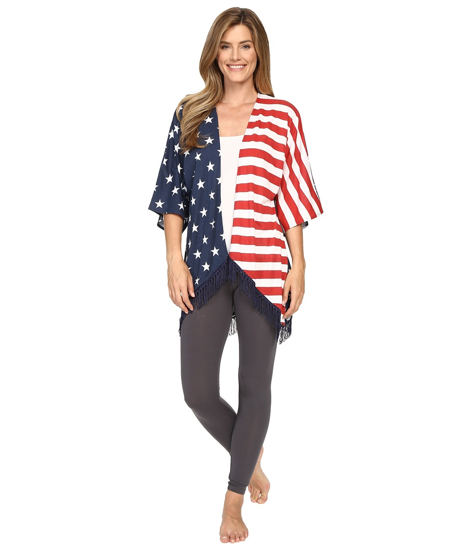 P.J. Salvage - Road Trip Flag Kimono (Navy) Women's Pajama
