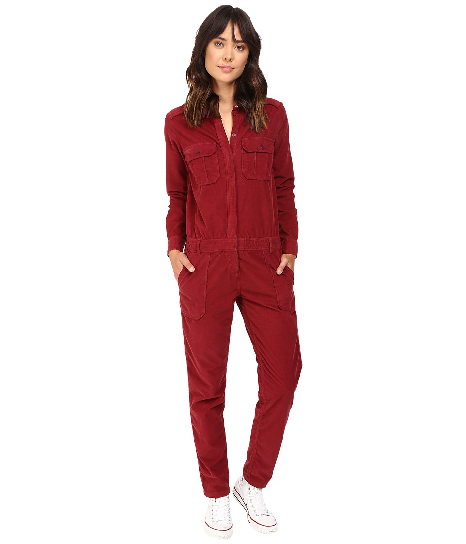ETIENNE MARCEL - EM7092 LS Corduroy Jumpsuit (Burgundy) Women's Jumpsuit & Rompers One Piece