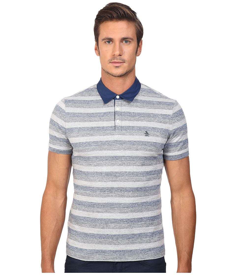 Original Penguin - Stripe Polo w/ Woven Collar (Blue Wing Teal) Men's Short Sleeve Pullover