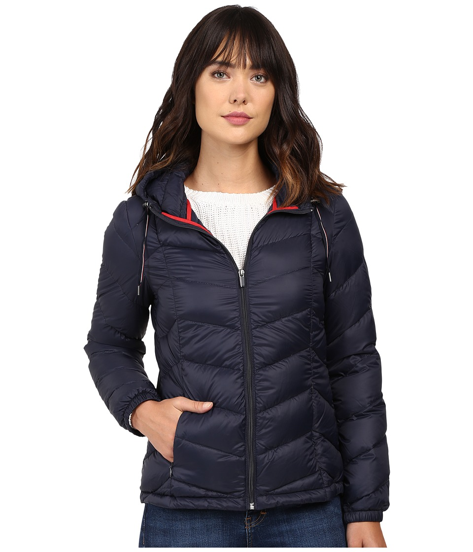 Tommy Hilfiger - Chevron Quilted Jacket (Navy) Women's Coat