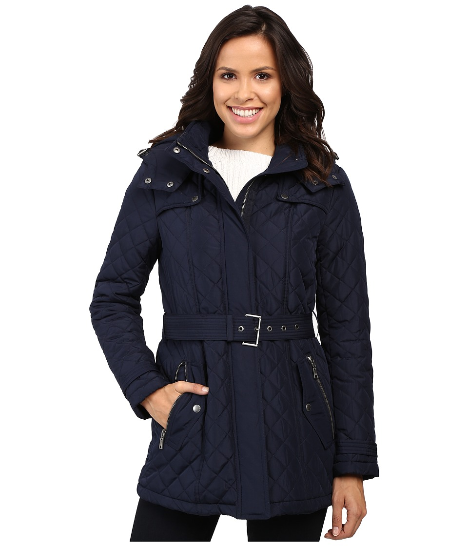 Tommy Hilfiger - Quilted Poly Cotton Jacket with Belt (Navy) Women's Coat