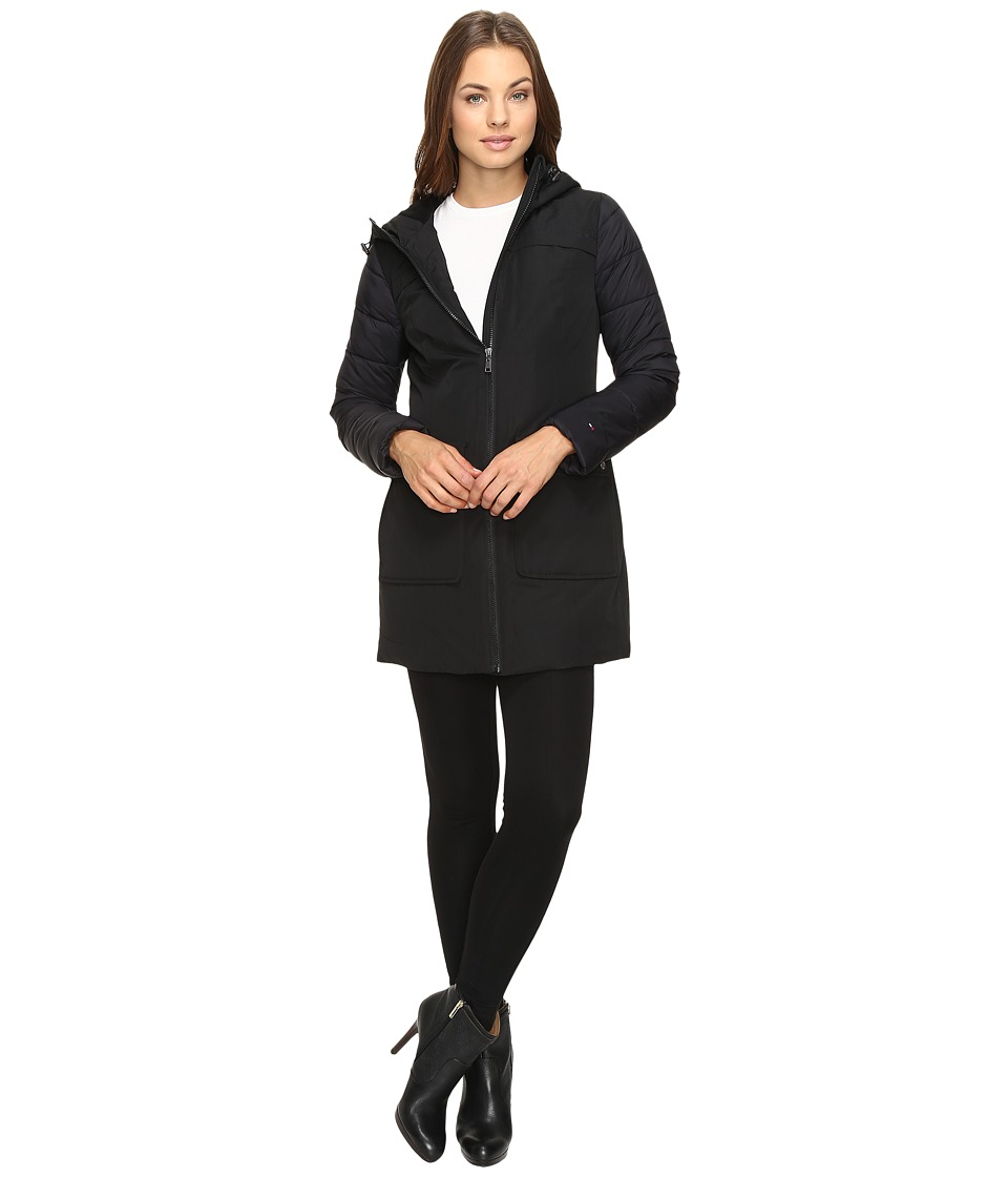 Tommy Hilfiger - Arctic Snorkel with Quilted Sleeves (Black) Women's Coat