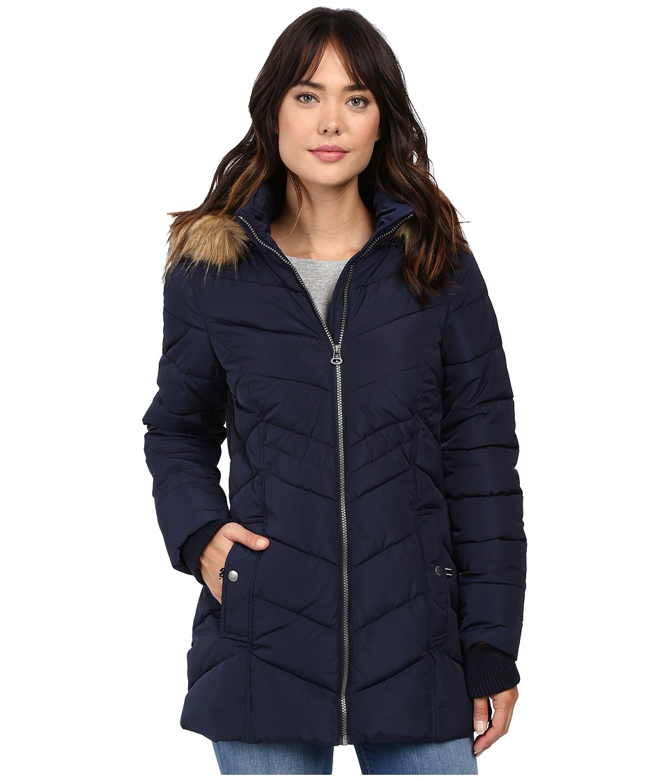 Tommy Hilfiger - Chevron Quilted Coat with Faux Fur Collar (Navy) Women's Coat