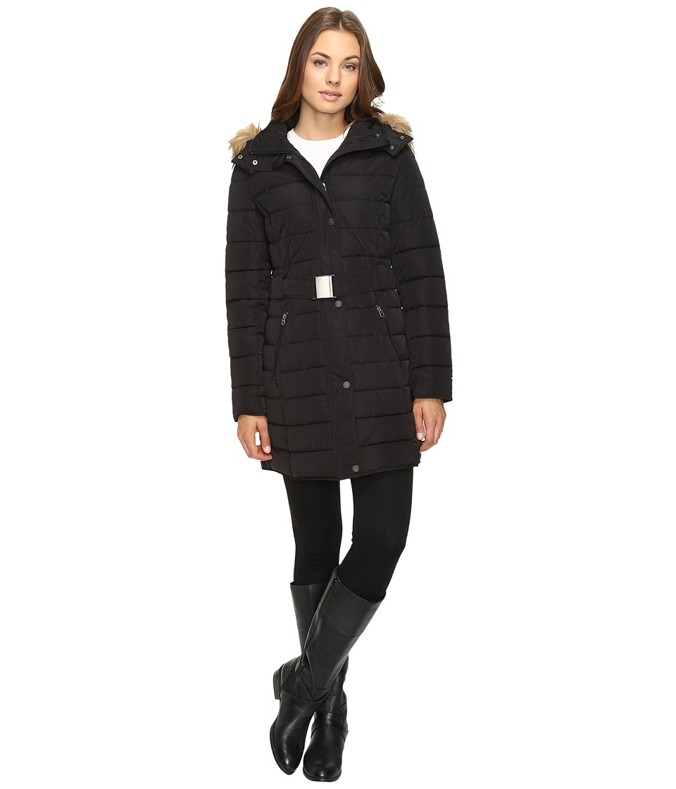 Tommy Hilfiger - Quilted Puffer with Belt (Black) Women's Coat
