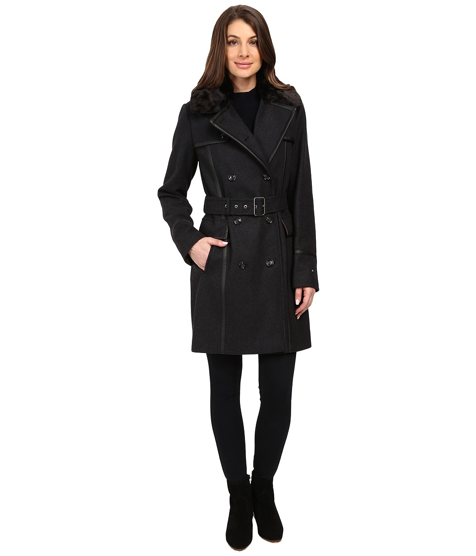 Tommy Hilfiger - Wool Belted Trench with Faux Fur (Charcoal) Women's Coat