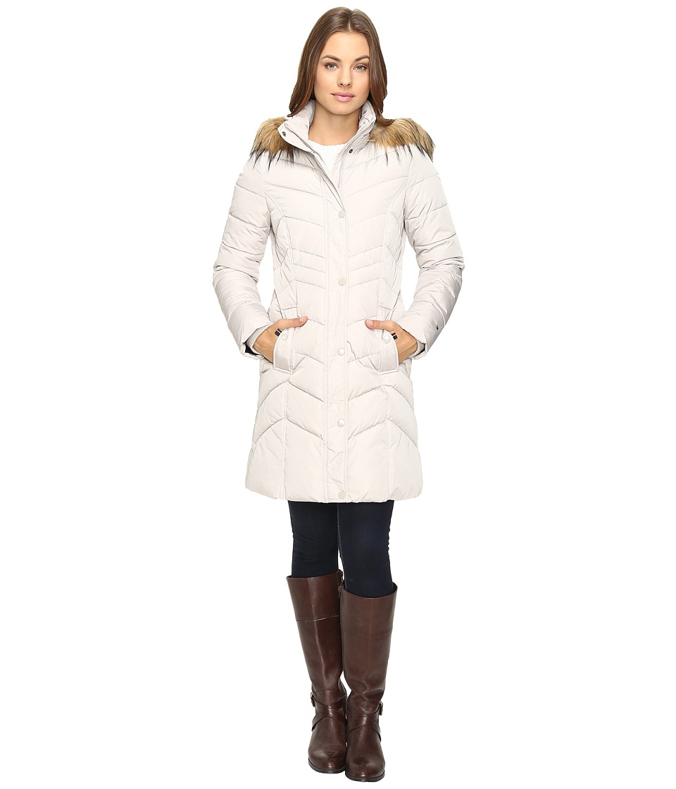 Tommy Hilfiger - Chevron Quilted Coat with Faux Fur Collar (Champagne) Women's Coat