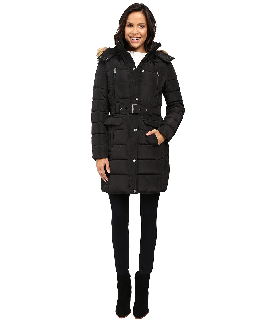 Tommy Hilfiger - Belted Coat with Faux Fur Collar (Black) Women's Coat
