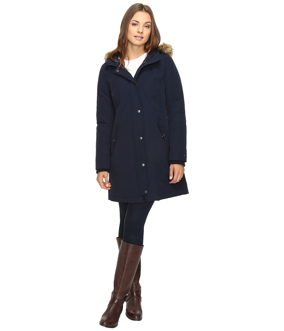 Tommy Hilfiger - Arctic Snorkel with Faux Fur Collar (Navy) Women's Coat