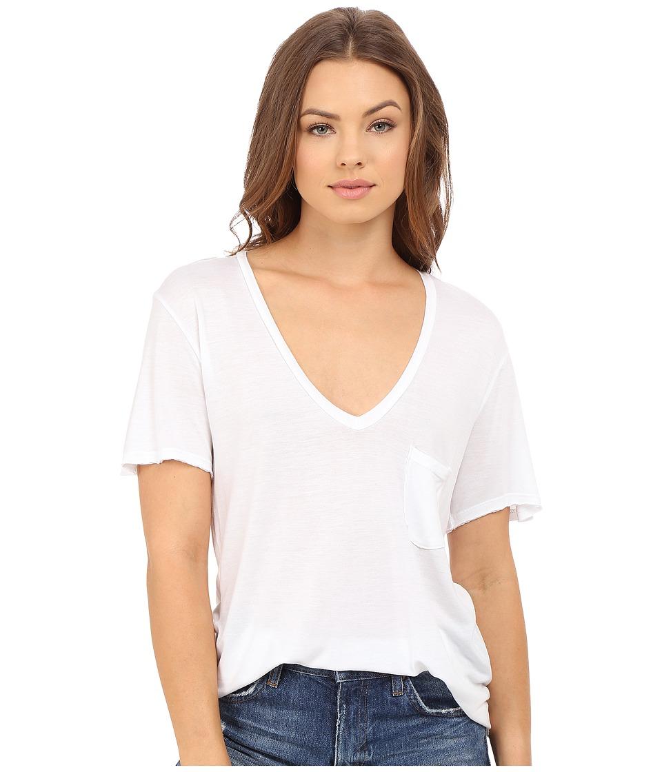 Project Social T - Rylee Pocket V (White) Women's Short Sleeve Pullover