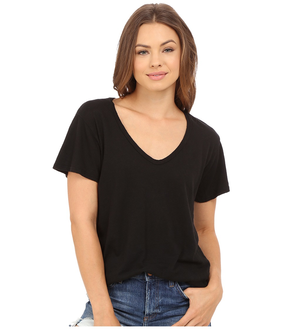 Project Social T Cotton Linen V (Black) Women's Short Sleeve Pullover