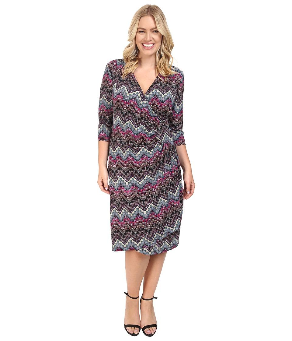Kiyonna - Ciara Cinch Dress (Pink Aztec Print) Women's Dress