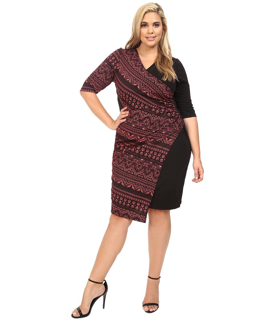 Kiyonna - Chic Cinch Faux Wrap Dress (Coral/Black) Women's Dress