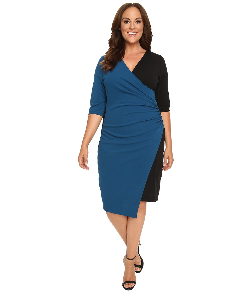 Kiyonna - Chic Cinch Faux Wrap Dress (Black/Teal) Women's Dress