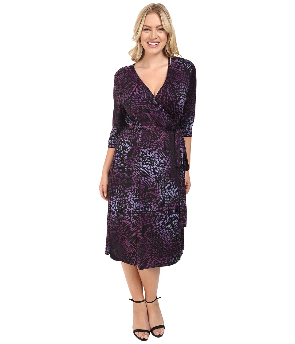 Kiyonna - Essential Wrap Dress (Amethyst Print) Women's Dress