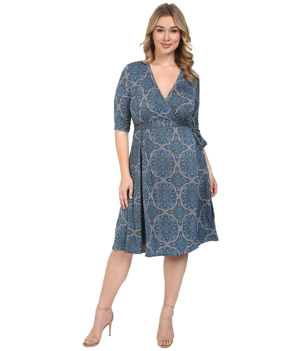 Kiyonna - Essential Wrap Dress (Medallion) Women's Dress