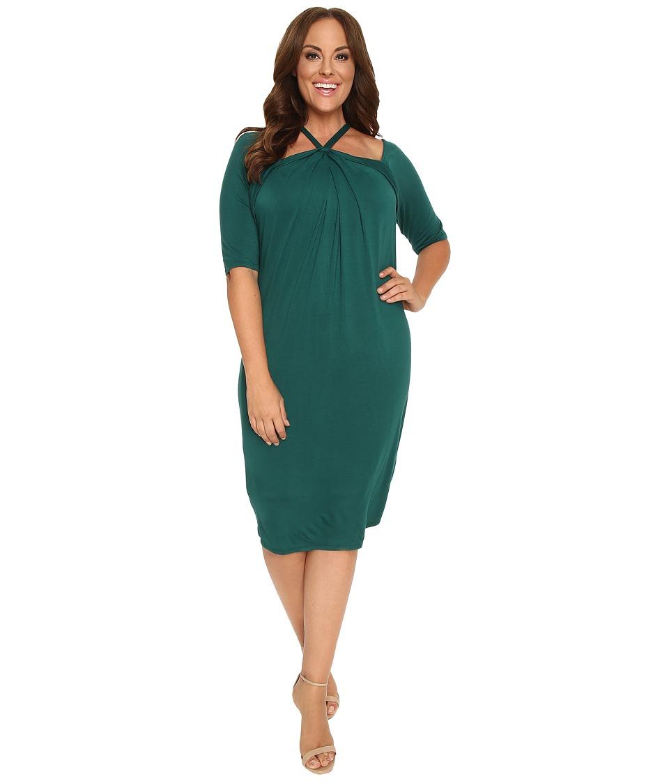 Kiyonna - Destination Draped Dress (Emerald Isle) Women's Dress