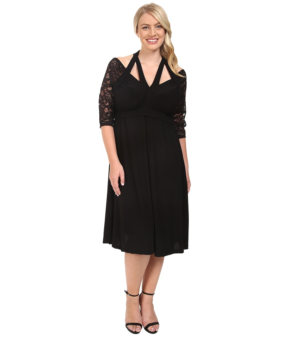 Kiyonna Luring Lace Dress (Black Noir) Women