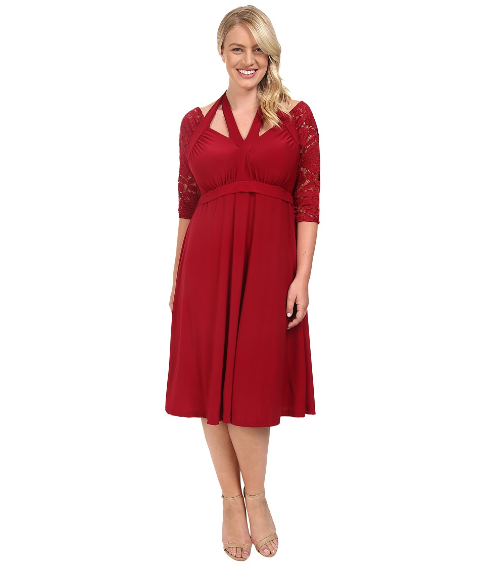 Kiyonna Luring Lace Dress (Ruby) Women